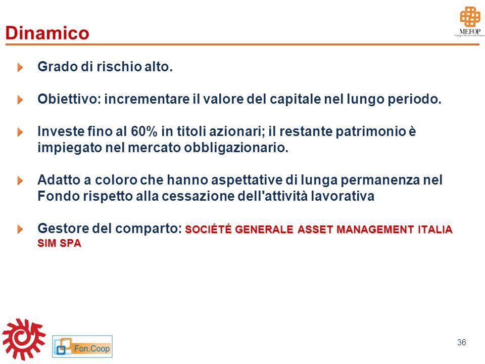 www.mefop.it 36 Grado di rischio alto. Obiettivo: incrementare il valore del capitale nel lungo periodo. Investe fino al 60% in titoli azionari; il re