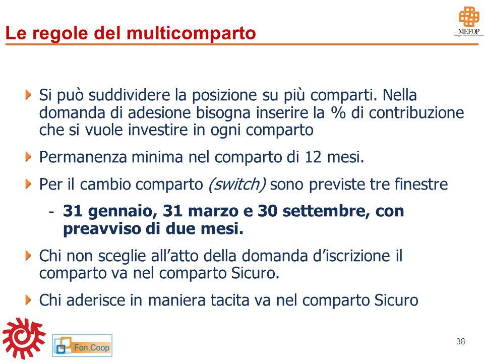 www.mefop.it 38 Si può suddividere la posizione su più comparti. Nella domanda di adesione bisogna inserire la % di contribuzione che si vuole investi
