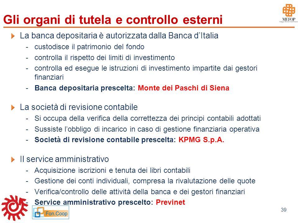 www.mefop.it 39 Gli organi di tutela e controllo esterni La banca depositaria è autorizzata dalla Banca dItalia -custodisce il patrimonio del fondo -c