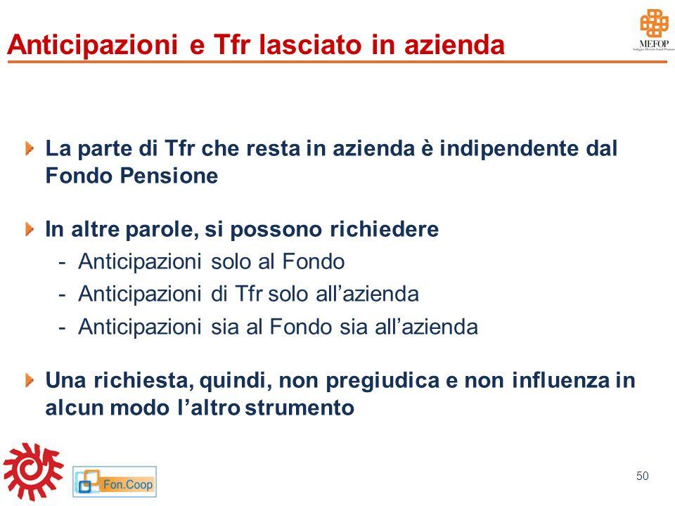 www.mefop.it 50 Anticipazioni e Tfr lasciato in azienda La parte di Tfr che resta in azienda è indipendente dal Fondo Pensione In altre parole, si pos