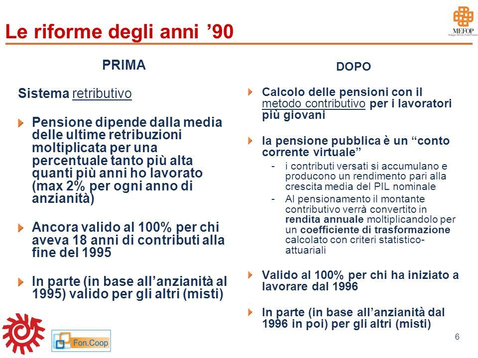 www.mefop.it 6 Le riforme degli anni 90 PRIMA Sistema retributivo Pensione dipende dalla media delle ultime retribuzioni moltiplicata per una percentu