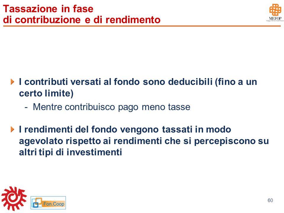 www.mefop.it 60 Tassazione in fase di contribuzione e di rendimento I contributi versati al fondo sono deducibili (fino a un certo limite) -Mentre con