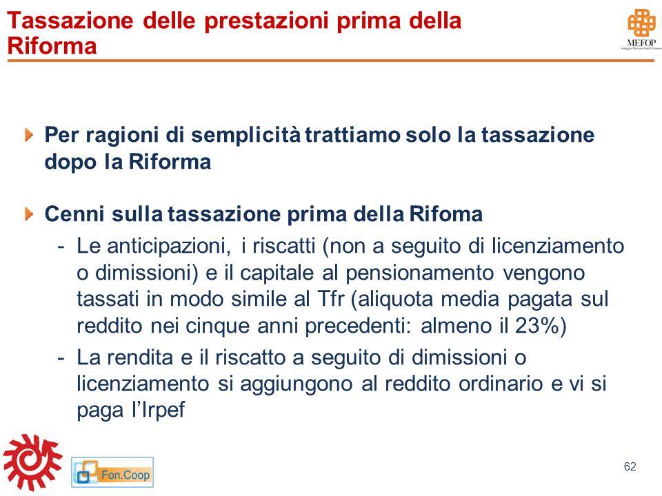 www.mefop.it 62 Tassazione delle prestazioni prima della Riforma Per ragioni di semplicità trattiamo solo la tassazione dopo la Riforma Cenni sulla ta