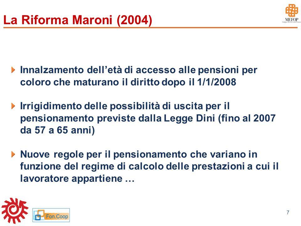 www.mefop.it 7 La Riforma Maroni (2004) Innalzamento delletà di accesso alle pensioni per coloro che maturano il diritto dopo il 1/1/2008 Irrigidiment