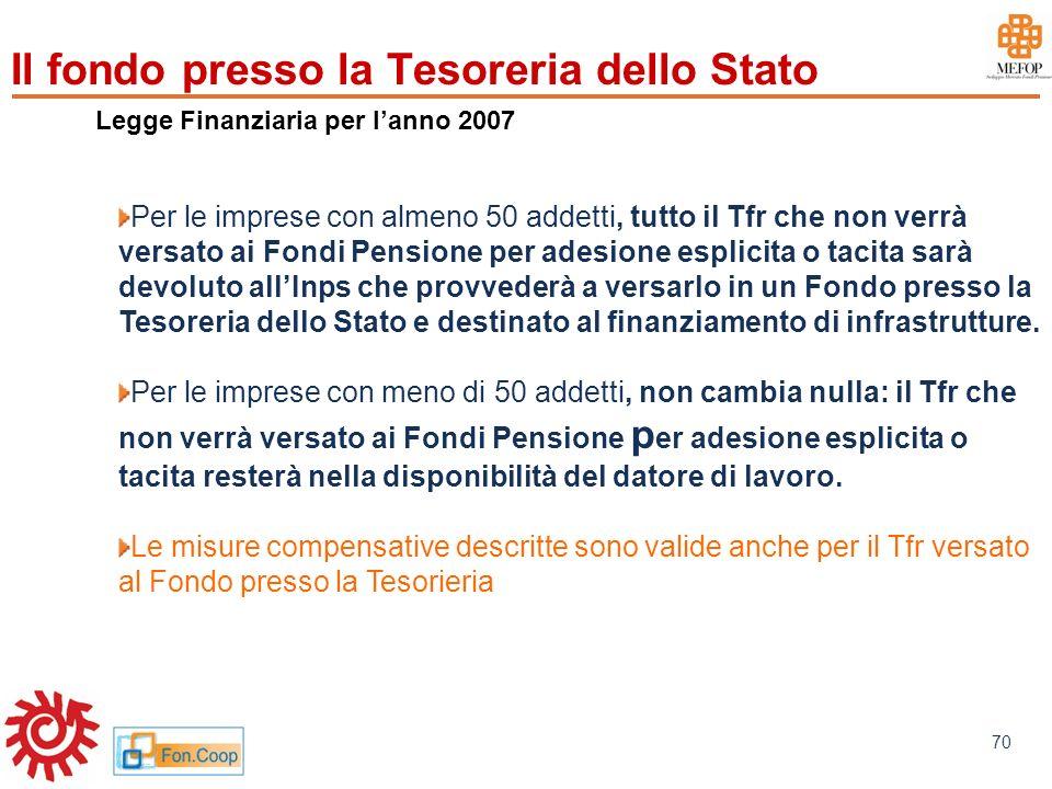 www.mefop.it 70 Legge Finanziaria per lanno 2007 Per le imprese con almeno 50 addetti, tutto il Tfr che non verrà versato ai Fondi Pensione per adesio