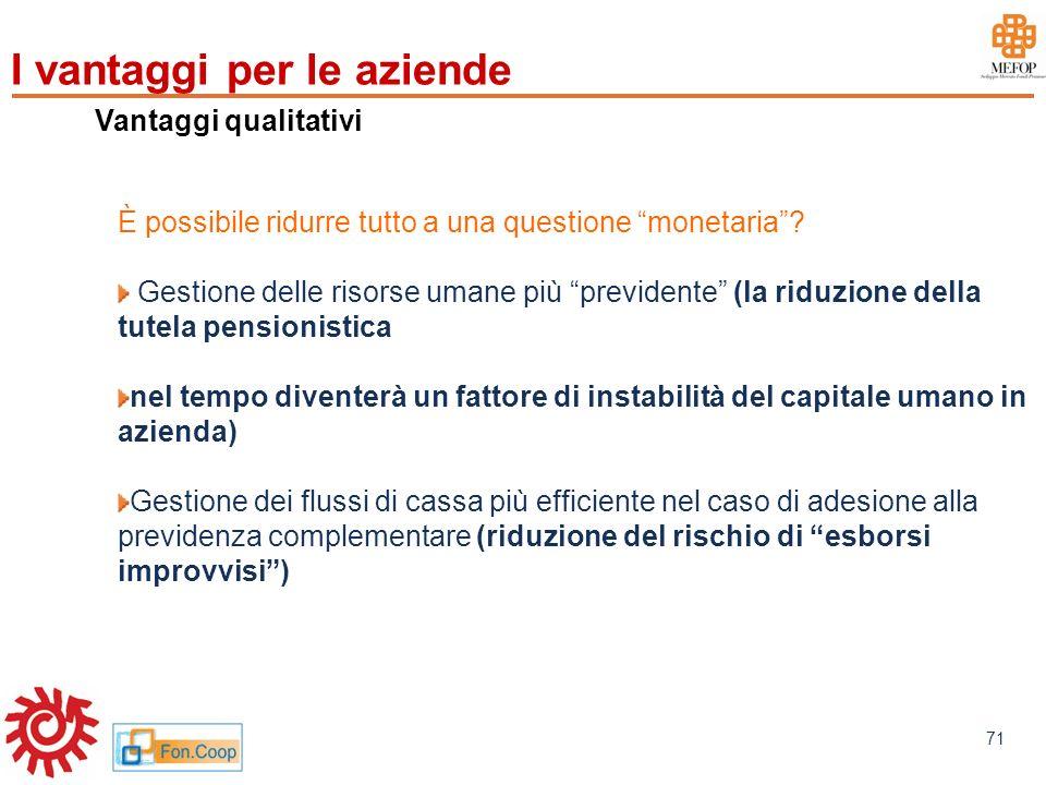 www.mefop.it 71 Vantaggi qualitativi È possibile ridurre tutto a una questione monetaria? Gestione delle risorse umane più previdente (la riduzione de