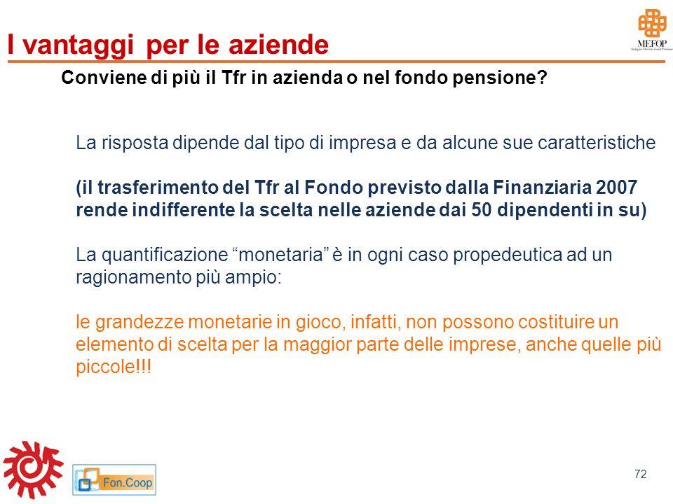 www.mefop.it 72 Conviene di più il Tfr in azienda o nel fondo pensione? La risposta dipende dal tipo di impresa e da alcune sue caratteristiche (il tr