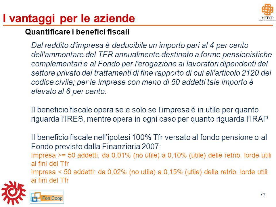 www.mefop.it 73 Quantificare i benefici fiscali Dal reddito d'impresa è deducibile un importo pari al 4 per cento dell'ammontare del TFR annualmente d