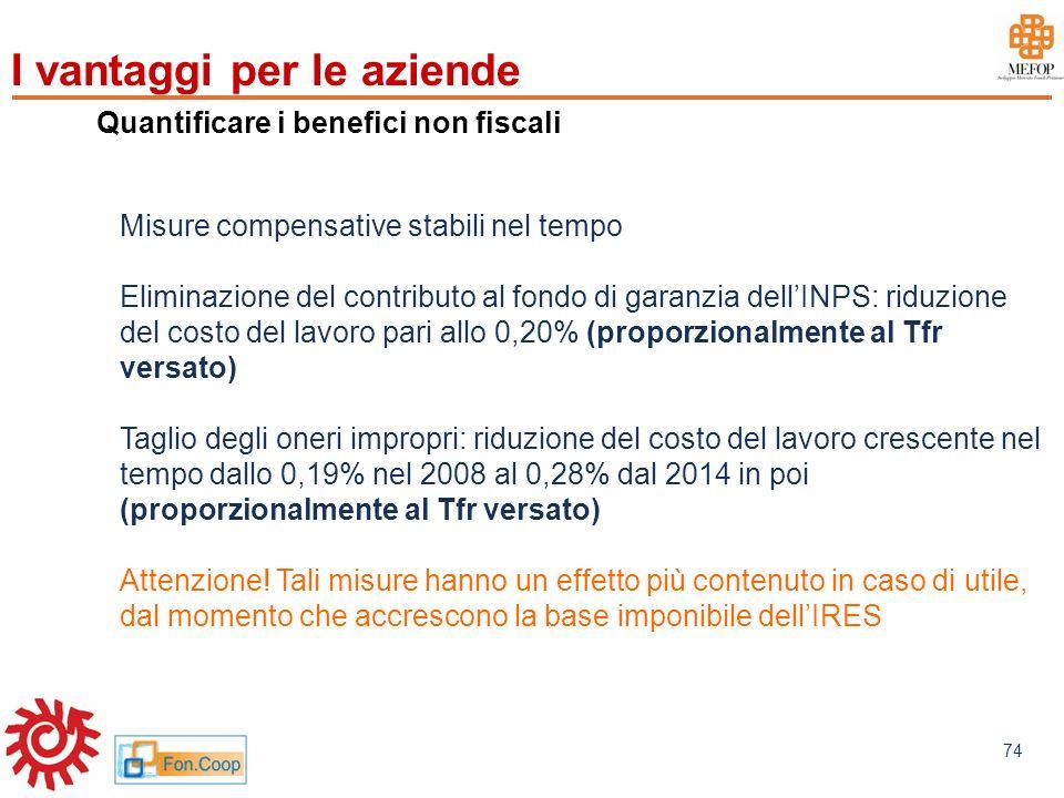 www.mefop.it 74 Quantificare i benefici non fiscali Misure compensative stabili nel tempo Eliminazione del contributo al fondo di garanzia dellINPS: r