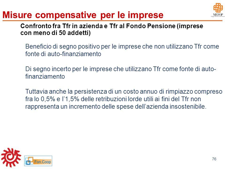 www.mefop.it 76 Confronto fra Tfr in azienda e Tfr al Fondo Pensione (imprese con meno di 50 addetti) Beneficio di segno positivo per le imprese che n