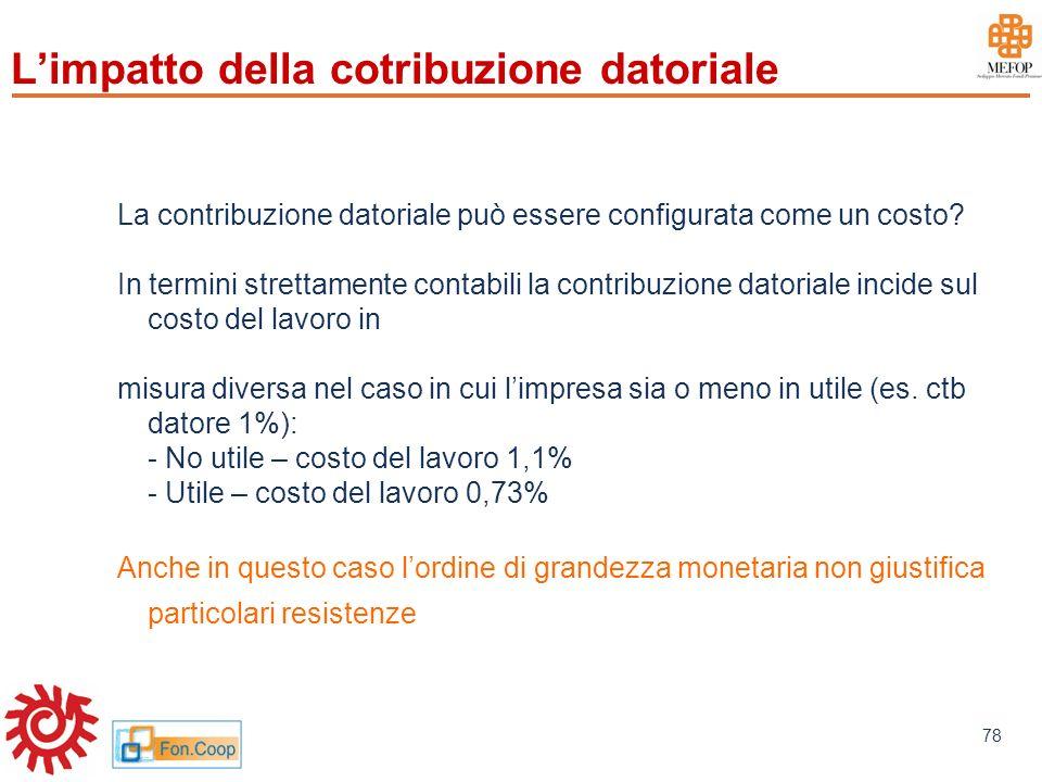 www.mefop.it 78 La contribuzione datoriale può essere configurata come un costo? In termini strettamente contabili la contribuzione datoriale incide s