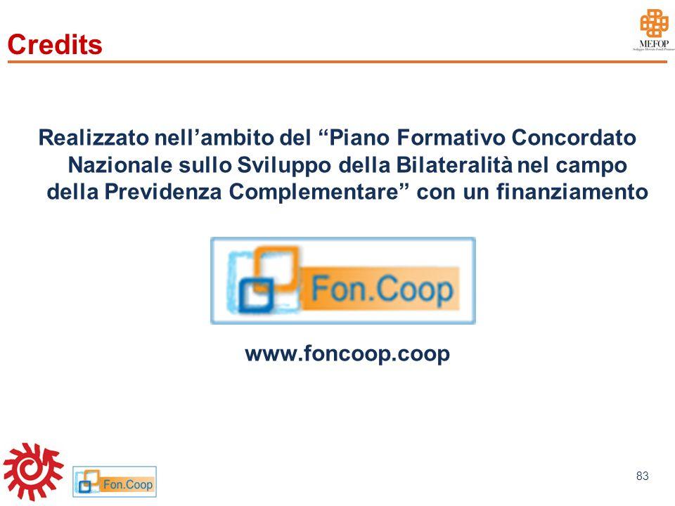 www.mefop.it 83 Credits Realizzato nellambito del Piano Formativo Concordato Nazionale sullo Sviluppo della Bilateralità nel campo della Previdenza Co