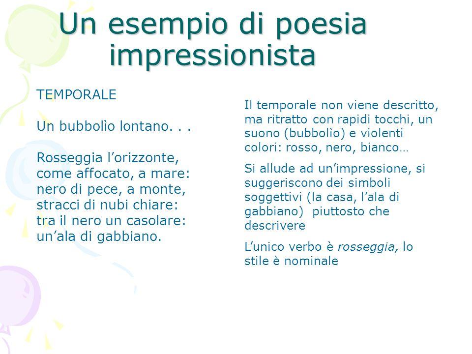 Un esempio di poesia impressionista TEMPORALE Un bubbolìo lontano... Rosseggia lorizzonte, come affocato, a mare: nero di pece, a monte, stracci di nu