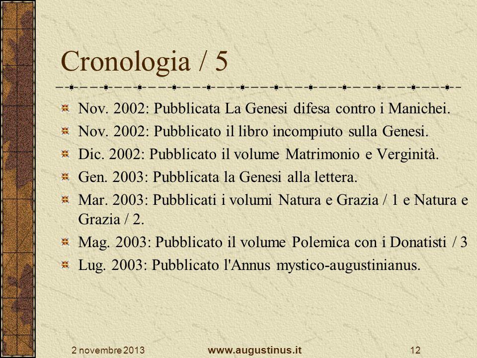 2 novembre 2013 www.augustinus.it 12 Cronologia / 5 Nov. 2002: Pubblicata La Genesi difesa contro i Manichei. Nov. 2002: Pubblicato il libro incompiut