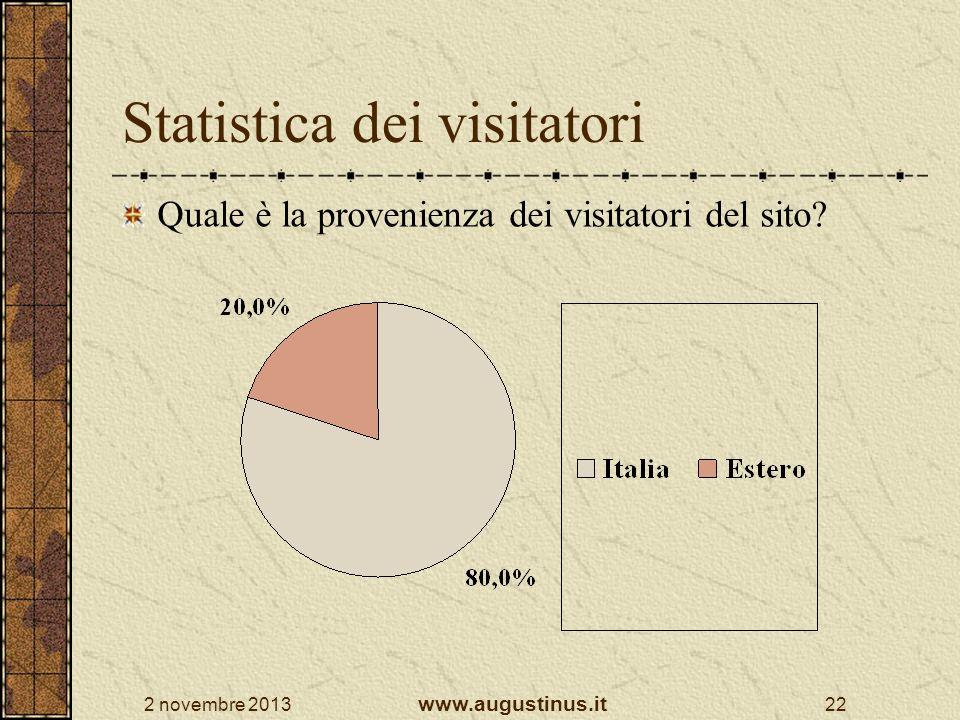 2 novembre 2013 www.augustinus.it 22 Statistica dei visitatori Quale è la provenienza dei visitatori del sito?