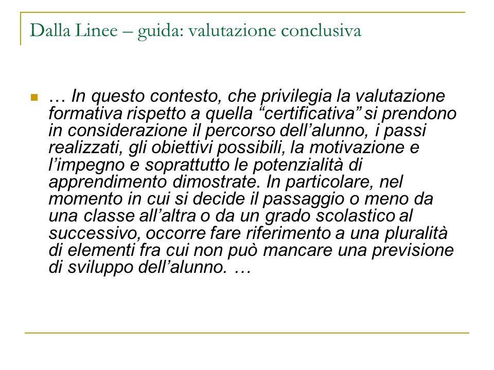 Dalla Linee – guida: valutazione conclusiva … In questo contesto, che privilegia la valutazione formativa rispetto a quella certificativa si prendono