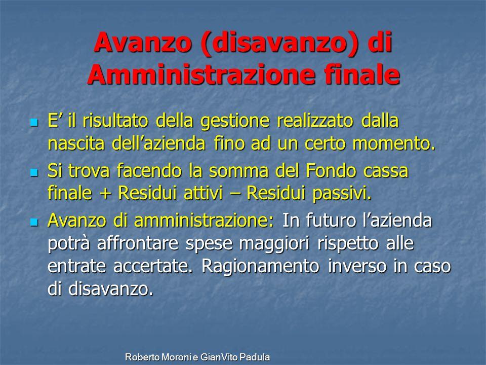 Roberto Moroni e GianVito Padula Avanzo (disavanzo) di Amministrazione finale E il risultato della gestione realizzato dalla nascita dellazienda fino