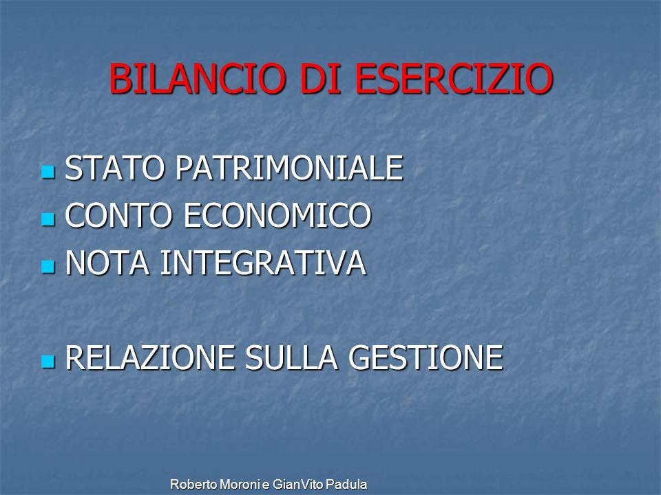 Roberto Moroni e GianVito Padula BILANCIO DI ESERCIZIO STATO PATRIMONIALE STATO PATRIMONIALE CONTO ECONOMICO CONTO ECONOMICO NOTA INTEGRATIVA NOTA INT