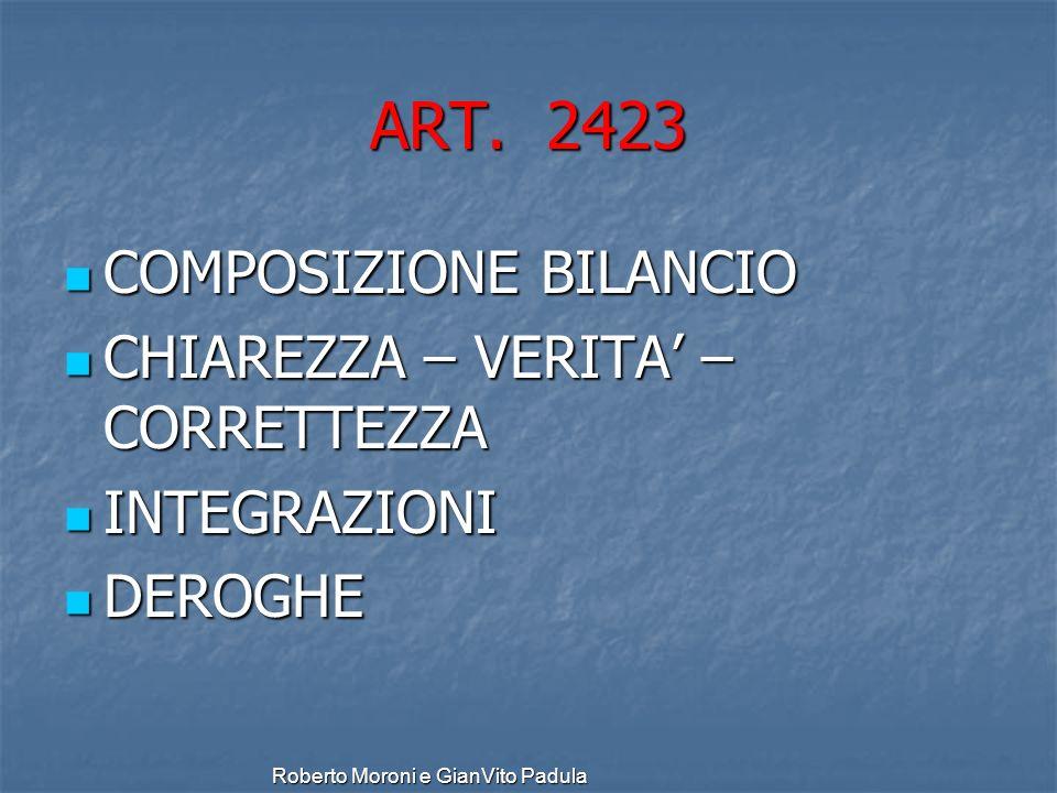 Roberto Moroni e GianVito Padula ART. 2423 COMPOSIZIONE BILANCIO COMPOSIZIONE BILANCIO CHIAREZZA – VERITA – CORRETTEZZA CHIAREZZA – VERITA – CORRETTEZ