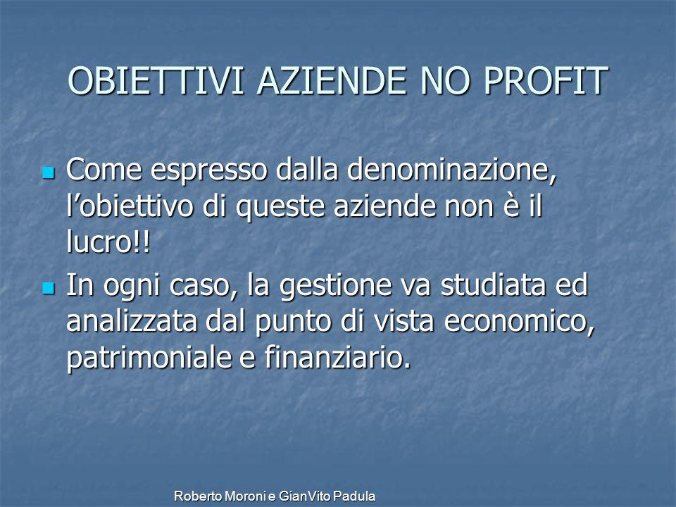 Roberto Moroni e GianVito Padula OBIETTIVI AZIENDE NO PROFIT Come espresso dalla denominazione, lobiettivo di queste aziende non è il lucro!! Come esp