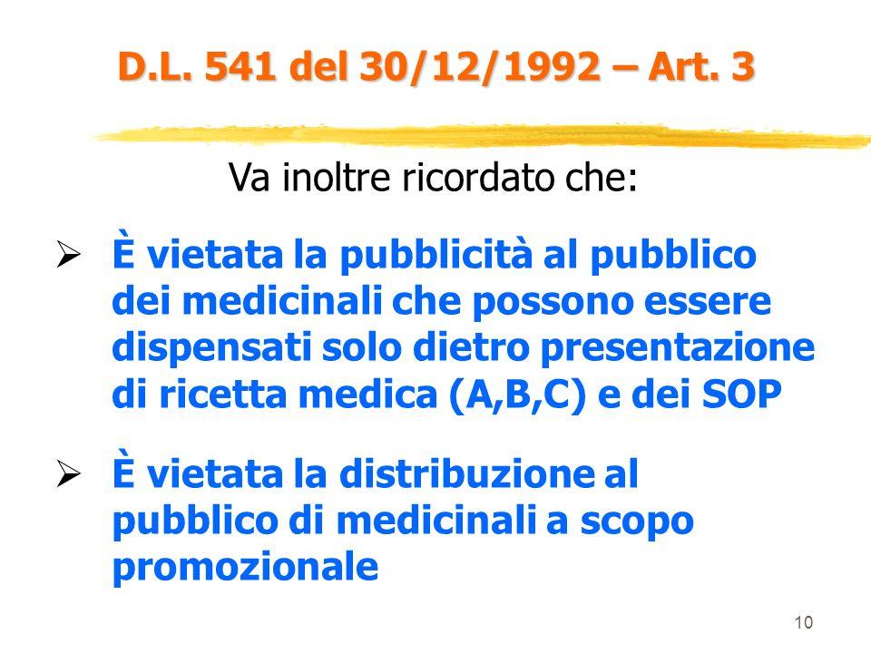 9 D.L. 541 del 30/12/1992 – Art. 3 OTC