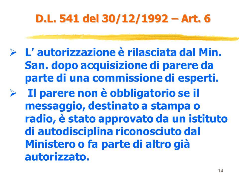 13 D.L. 541 del 30/12/1992 – Art. 6 Ne è esclusa la pubblicità ai medici che si limita al nome del medicinale (solo a scopo mnemonico). Questultima, t