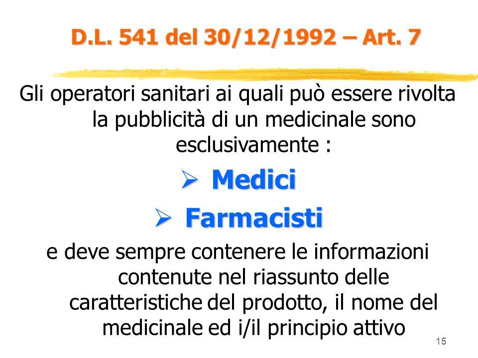 14 D.L. 541 del 30/12/1992 – Art. 6 L autorizzazione è rilasciata dal Min. San. dopo acquisizione di parere da parte di una commissione di esperti. Il