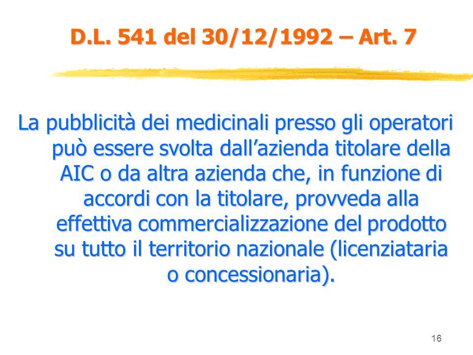 15 D.L. 541 del 30/12/1992 – Art. 7 Gli operatori sanitari ai quali può essere rivolta la pubblicità di un medicinale sono esclusivamente : Medici Med