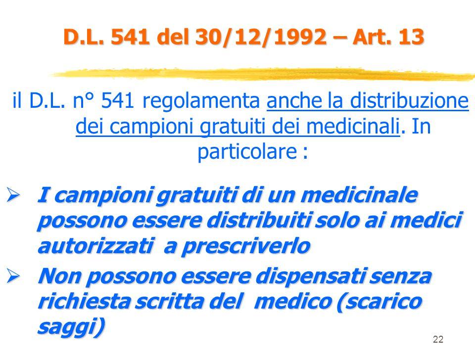 21 D.L. 541 del 30/12/1992 – Art. 11 nellambito dellattività di informazione sui medicinali è vietato agli ISF di nellambito dellattività di informazi
