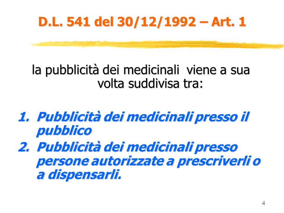 4 la pubblicità dei medicinali viene a sua volta suddivisa tra: 1.Pubblicità dei medicinali presso il pubblico 2.Pubblicità dei medicinali presso persone autorizzate a prescriverli o a dispensarli.