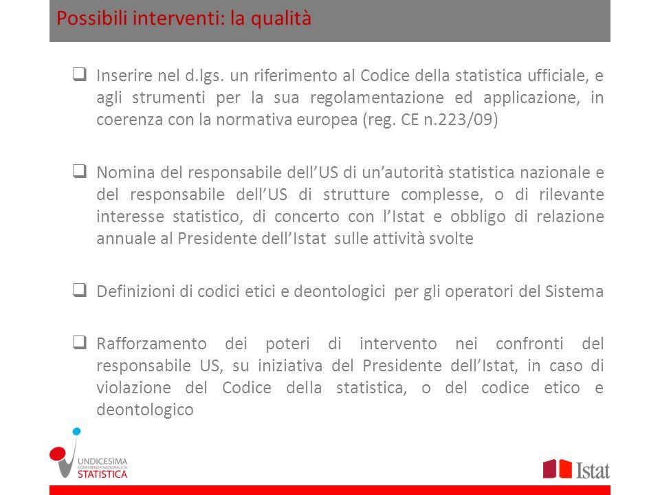 Possibili interventi: la qualità Inserire nel d.lgs. un riferimento al Codice della statistica ufficiale, e agli strumenti per la sua regolamentazione