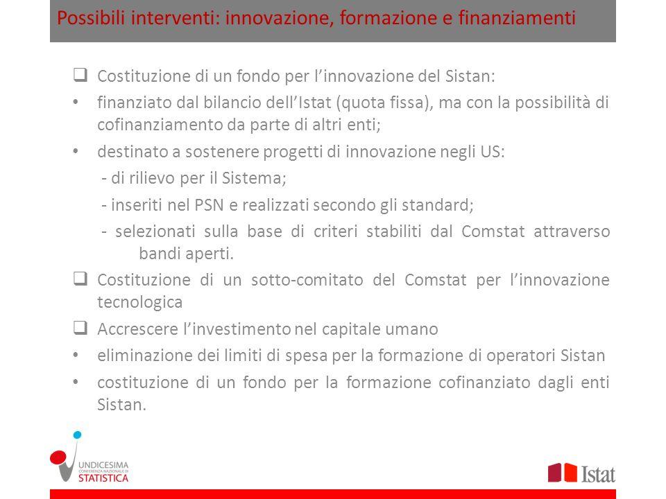 Possibili interventi: innovazione, formazione e finanziamenti Costituzione di un fondo per linnovazione del Sistan: finanziato dal bilancio dellIstat