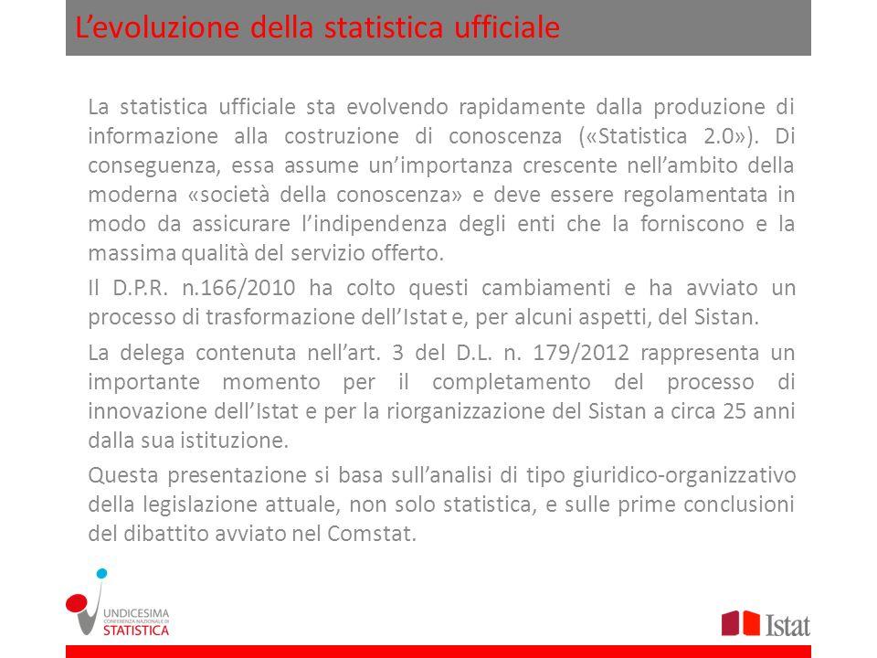 Levoluzione della statistica ufficiale La statistica ufficiale sta evolvendo rapidamente dalla produzione di informazione alla costruzione di conoscen