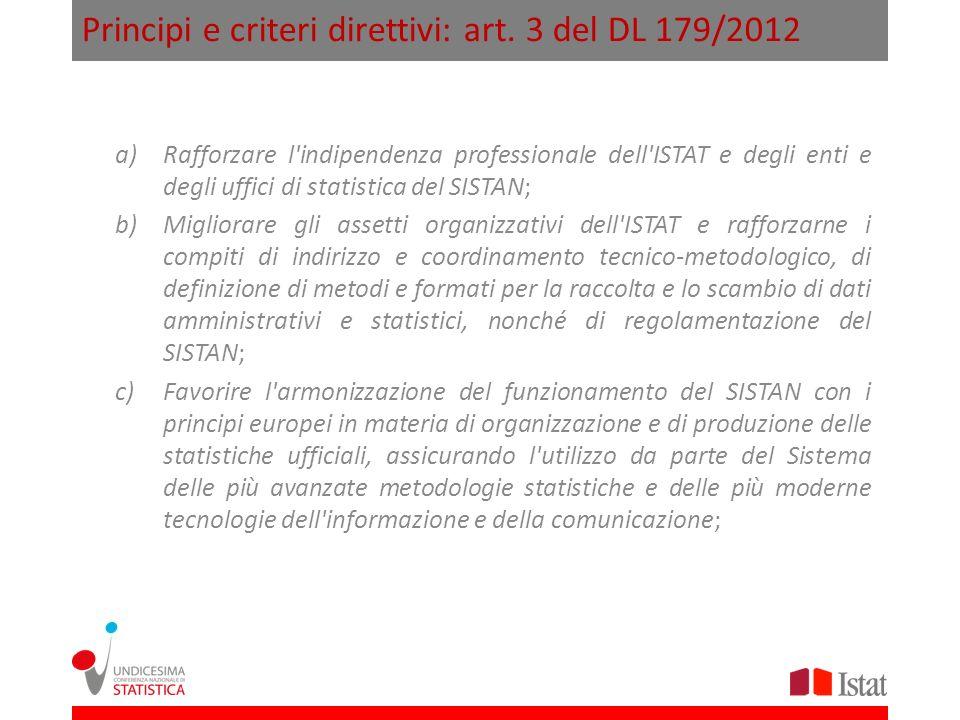 Principi e criteri direttivi: art. 3 del DL 179/2012 a)Rafforzare l'indipendenza professionale dell'ISTAT e degli enti e degli uffici di statistica de