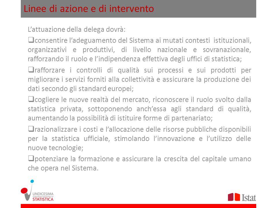 Linee di azione e di intervento Lattuazione della delega dovrà: consentire ladeguamento del Sistema ai mutati contesti istituzionali, organizzativi e