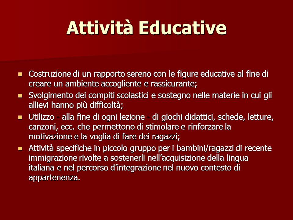 Attività Educative Costruzione di un rapporto sereno con le figure educative al fine di creare un ambiente accogliente e rassicurante; Costruzione di