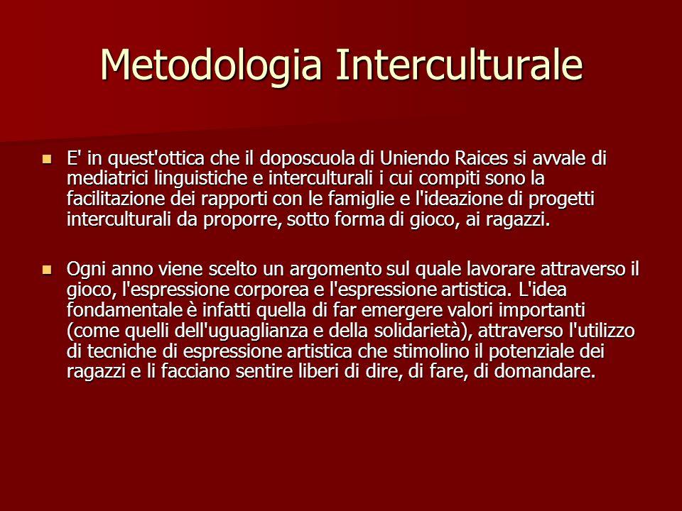 Metodologia Interculturale E' in quest'ottica che il doposcuola di Uniendo Raices si avvale di mediatrici linguistiche e interculturali i cui compiti