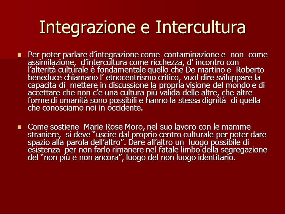 Integrazione e Intercultura Per poter parlare dintegrazione come contaminazione e non come assimilazione, dintercultura come ricchezza, d incontro con