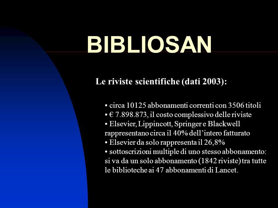 BIBLIOSAN Le riviste scientifiche (dati 2003): circa 10125 abbonamenti correnti con 3506 titoli 7.898.873, il costo complessivo delle riviste Elsevier