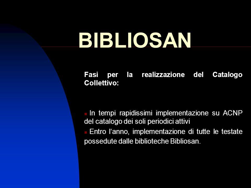 BIBLIOSAN Fasi per la realizzazione del Catalogo Collettivo: In tempi rapidissimi implementazione su ACNP del catalogo dei soli periodici attivi Entro