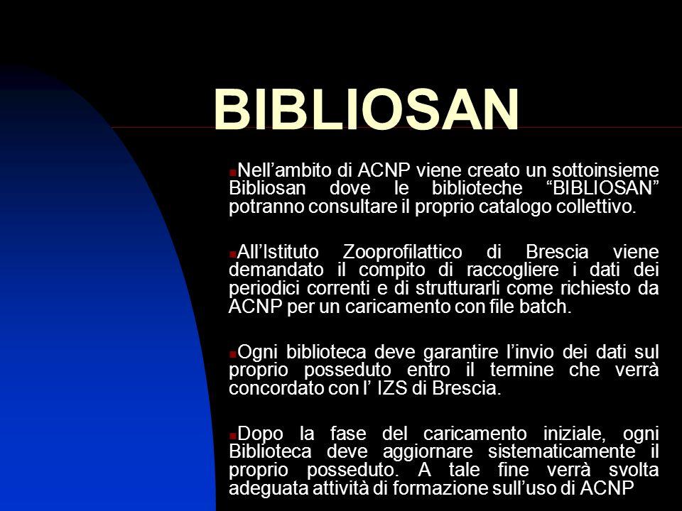 BIBLIOSAN Nellambito di ACNP viene creato un sottoinsieme Bibliosan dove le biblioteche BIBLIOSAN potranno consultare il proprio catalogo collettivo.