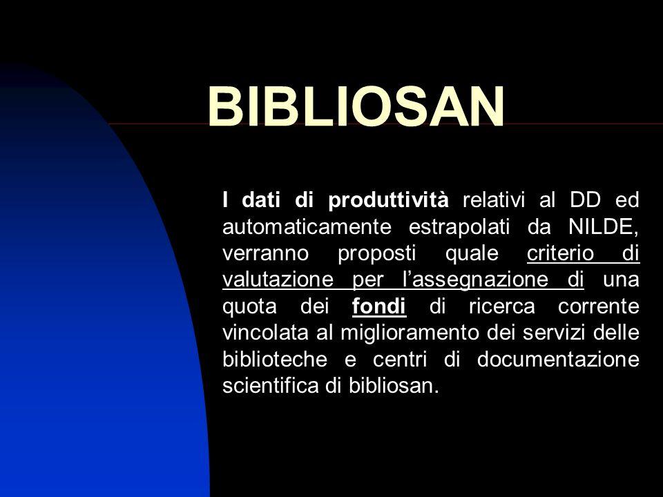 BIBLIOSAN I dati di produttività relativi al DD ed automaticamente estrapolati da NILDE, verranno proposti quale criterio di valutazione per lassegnaz