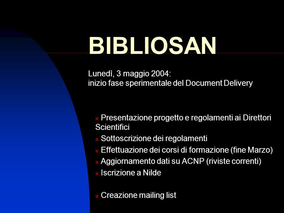 BIBLIOSAN Presentazione progetto e regolamenti ai Direttori Scientifici Sottoscrizione dei regolamenti Effettuazione dei corsi di formazione (fine Mar