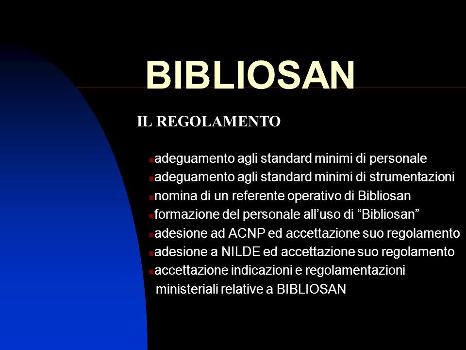 BIBLIOSAN adeguamento agli standard minimi di personale adeguamento agli standard minimi di strumentazioni nomina di un referente operativo di Biblios
