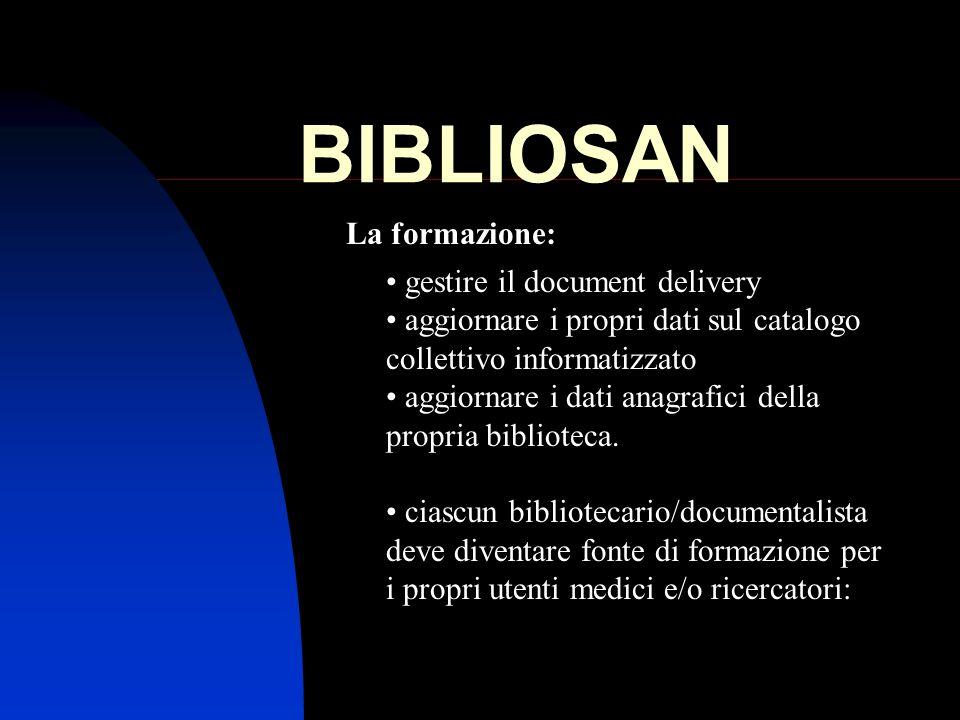 BIBLIOSAN La formazione: gestire il document delivery aggiornare i propri dati sul catalogo collettivo informatizzato aggiornare i dati anagrafici del