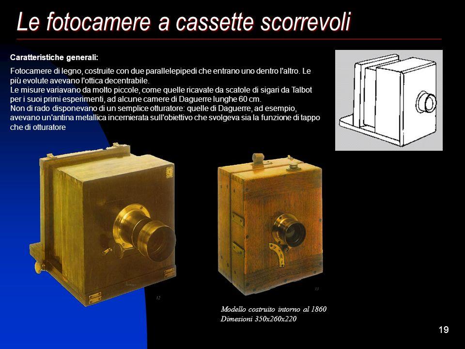 18 Le fotocamere a cassette scorrevoli (1820-1860 circa) Le fotocamere a cassette scorrevoli non sono altro che la camera oscura di Kaspar Schott modi