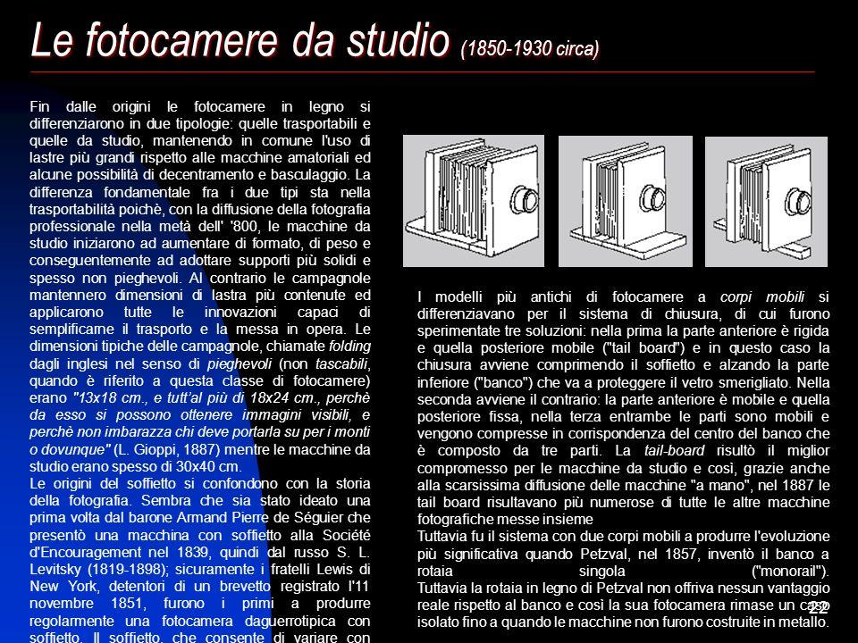 21 Le fotocamere da studio (1850-1930 circa) Angelo Pettazzi Milano Fotocamera da studio, obbiettivo J. H. Dallmeyer, cavalletto da terrazzo (1890 c.a