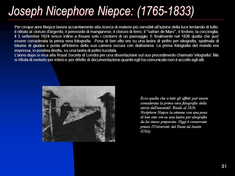 30 Joseph Nicephore Niepce: (1765-1833) Già dal medioevo, gli alchimisti, facendo riscaldare il cloruro di sodio (o sale da cucina) insieme con l'arge