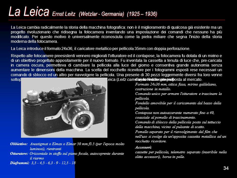 33 Il Daguerrotipo: (metà 1800) Alphonse Giroux, cognato di Daguerre, costruì e smerciò con enorme successo un apparecchio per dagherrotipia la cui et