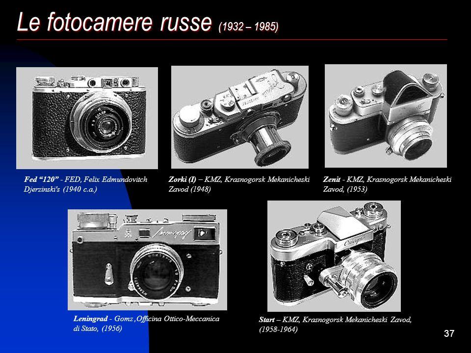 36 Le fotocamere russe (1932 – 1985) Gli anni più esaltanti per l'industria sovietica però vennero dopo la seconda guerra, dal '46 al '70, quando la p